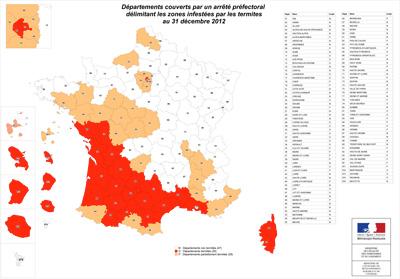 Carte des départements concernés par un arrêté préfectoral termites