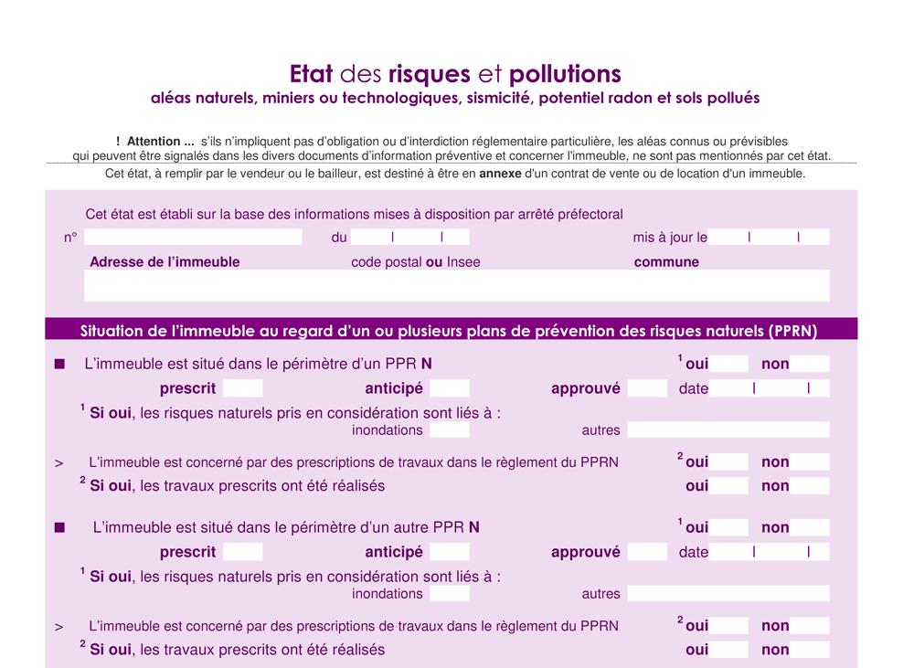 """Aperçu du nouvel imprimé """"État des Risques et Pollutions"""""""