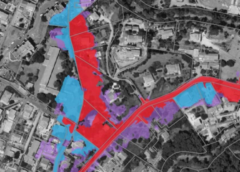 servitudes d'utilité publique : Zones bleu et rouge d'un risque inondation