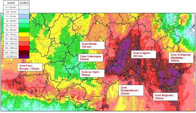 Cumul des précipitations dans le Var du 1er Novembre à 00h au 9 Novembre à 00h