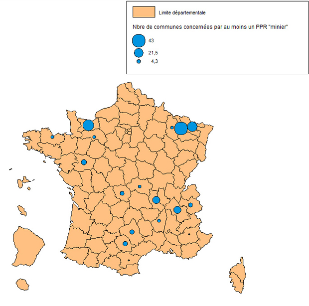 """Carte des communes concernées par au moins 1 PPR """"minier"""""""