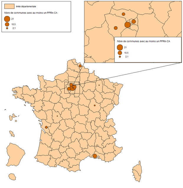 """Carte des communes concernées par au moins 1 PPR """"mouvement de terrain dû à des cavités anthropiques"""""""