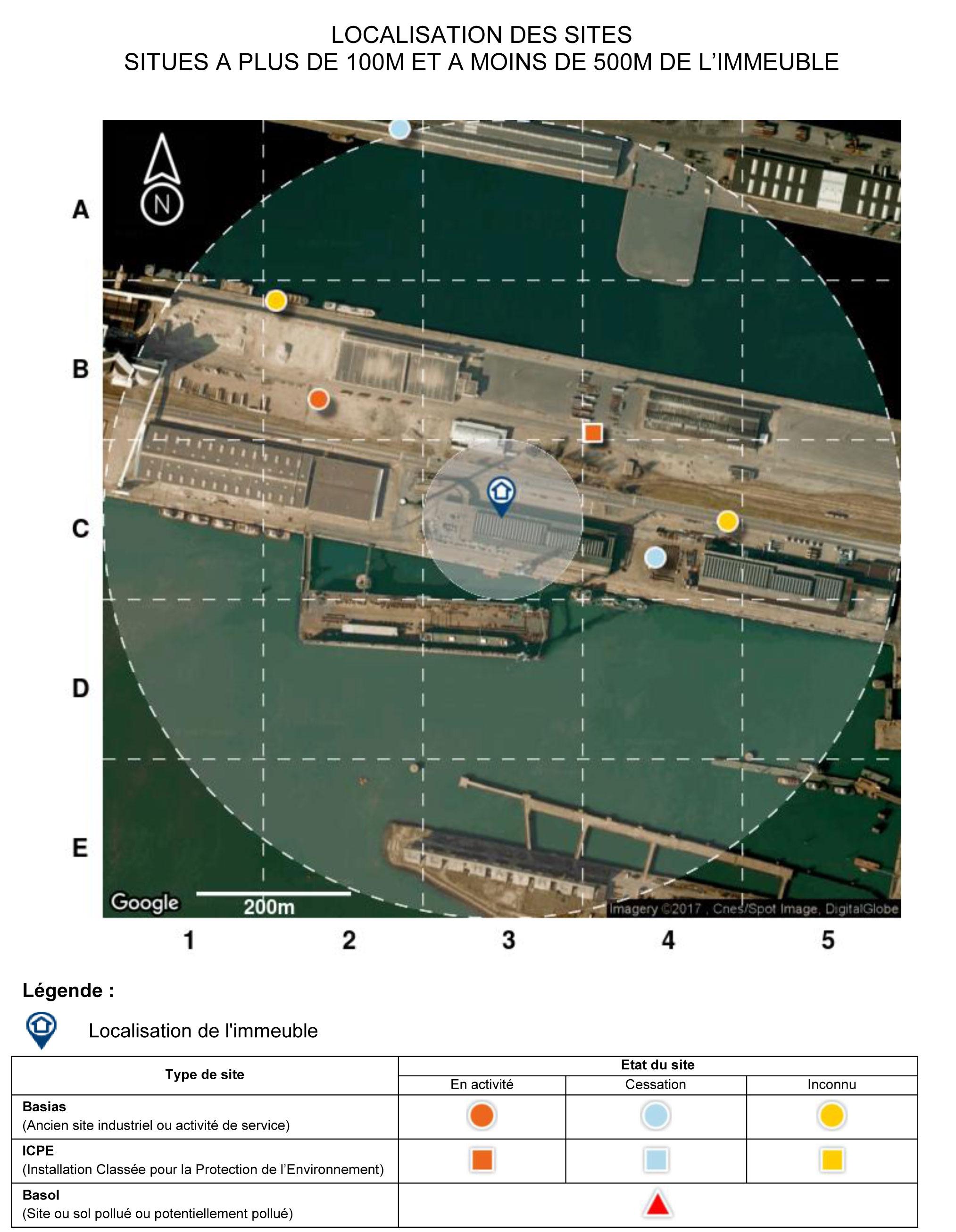 Localisation des sites BASIAS et ICPE sur un ERPS Preventimmo