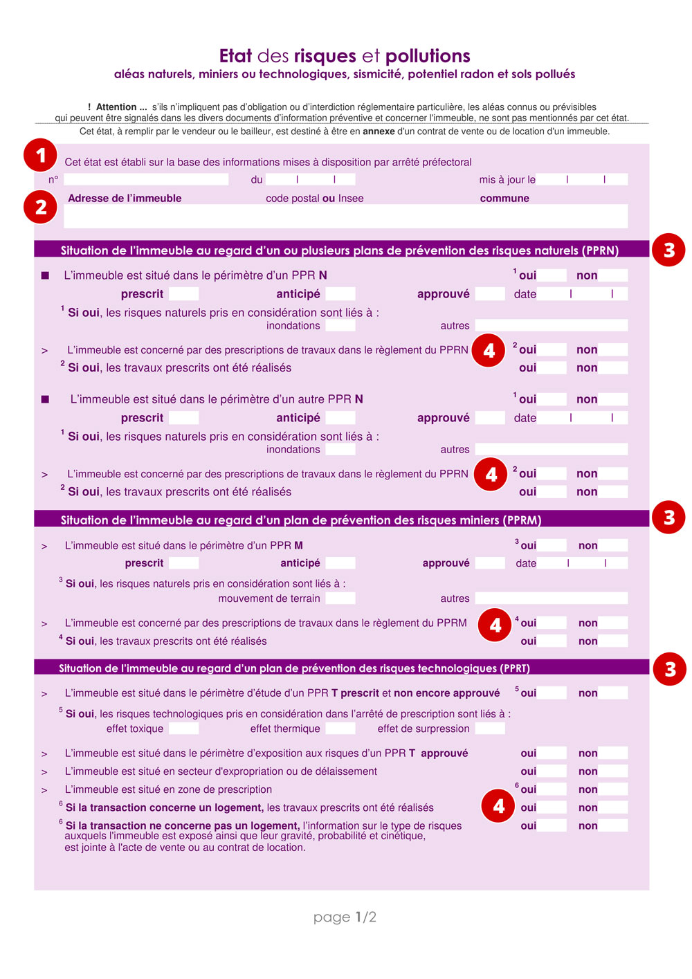 Aperçu de la page 1 de l'imprimé officiel ERP
